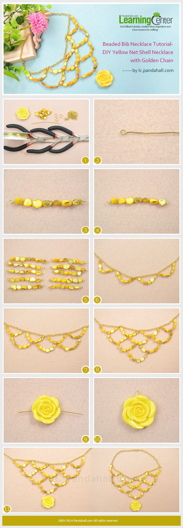 Beaded Bib Necklace Tutorial-DIY Yellow Net Shell Necklace with Golden Chain