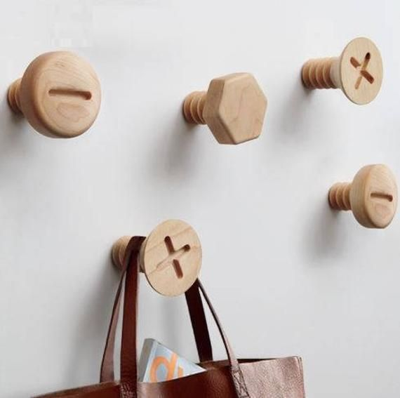 Wooden Giant Screw Clothes Hanger Wall Mounted Style Home Decor Hooks Wooden Hangers Wooden Diy