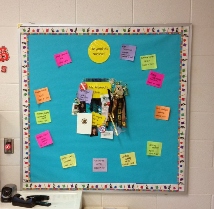 Around the Nucleus Chemistry Bulletin Board- shows where students are going after high school!