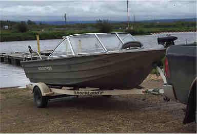 """18' 2001 Marathon Marine Jet Boat for Sale, 175 Mercury Sport Jet with """"shoreland'r"""" trailer  55lb Min Kota bow mounted trolling motor and new deep cycle battery."""