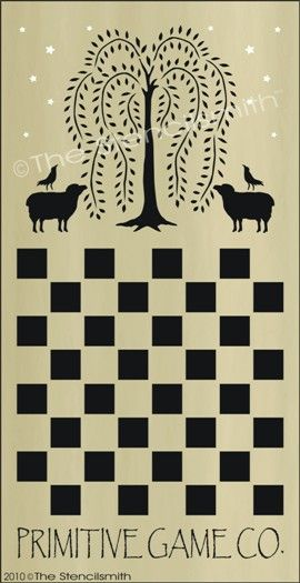 1152 - Willow Primitive Game Board-Willow Primitive Game Board stencils sheep crow co checkers chess