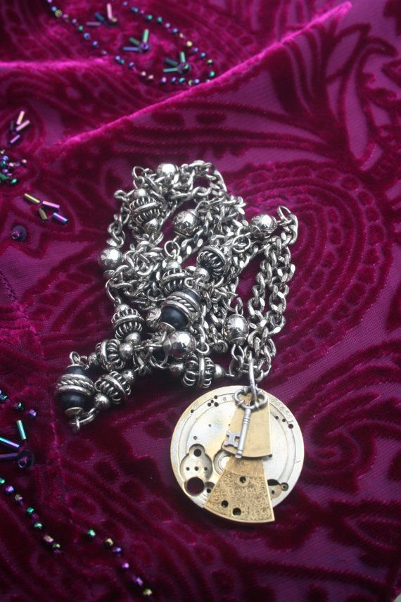 Antique pocket watch Steampunk necklace handmade jewelry