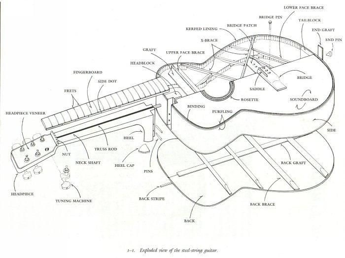 guitar    drawing image   This is an exploded view of a steel string    guitar    Exploded view is