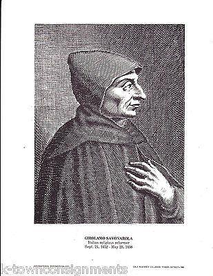 Girolamo Savonarola Italian Religious Reformer Vintage Portrait Gallery Print