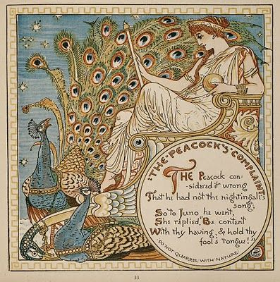 Walter Crane,Juno and her Birds,1887 (Art/Vintage) With their sumptuous ornamental feathers, elegant silhouettesand rich iridescent colors, peacockswere the Art Nouveau birds par excellence.
