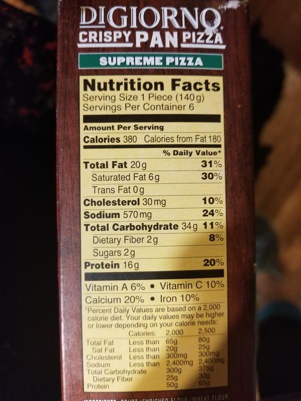 Digiorno Pizza Nutrition Label Pizza Nutrition Facts Nutrition Labels Nutrition