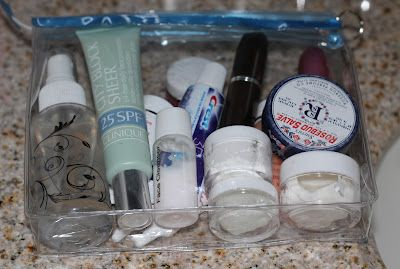 Great tips on packing toiletries and makeup to meet TSA requirements from Une Femme d'un Certain Age