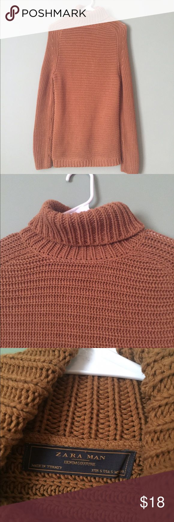 Zara Man Turtleneck Camel color Zara man turtleneck. Great condition no pulls no stains. Bottom is slightly tighter but not elastic. Can be unisex. Zara Sweaters Turtleneck
