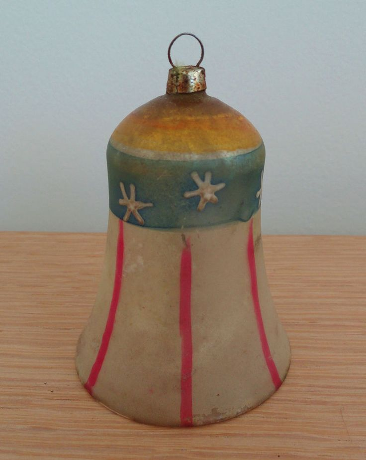 Antique German Glass Christmas Ornament - PATRIOTIC BELL c. 1910-1920