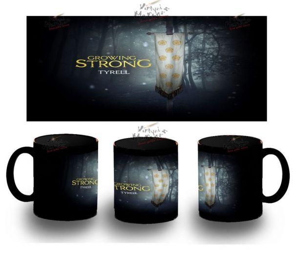 Taza Negra Tyrell Casa Mug Tazza Tasse House Juego De Tronos Game Of Thrones - Bekiro