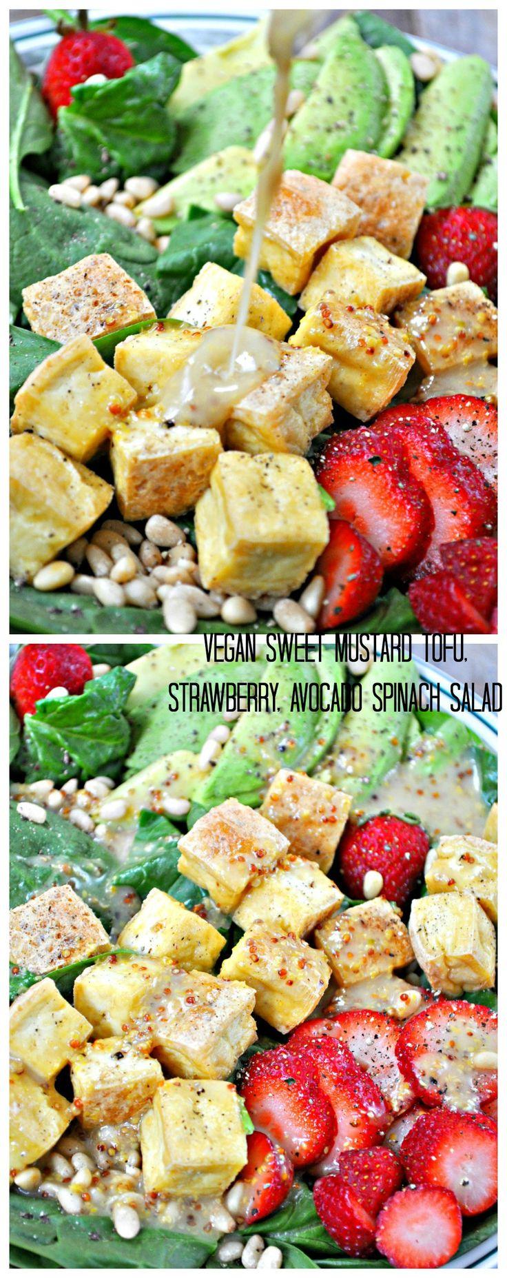 Vegan Sweet Mustard Tofu, Strawberry, Avocado Salad