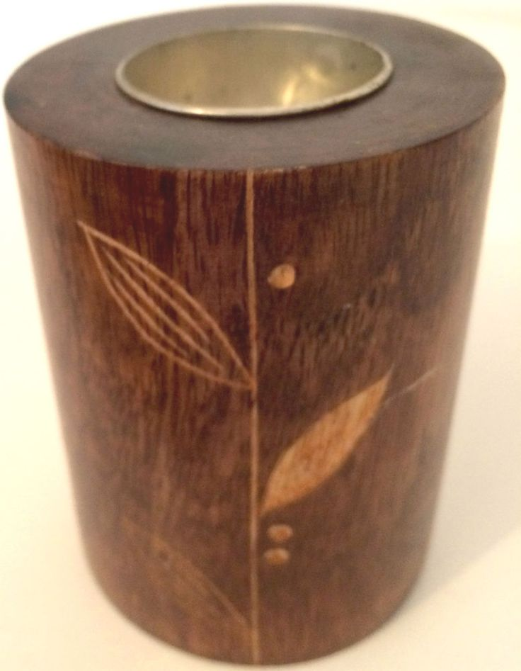 Handcrafted Mango Wood Tea-Light Holder With Floral Pattern