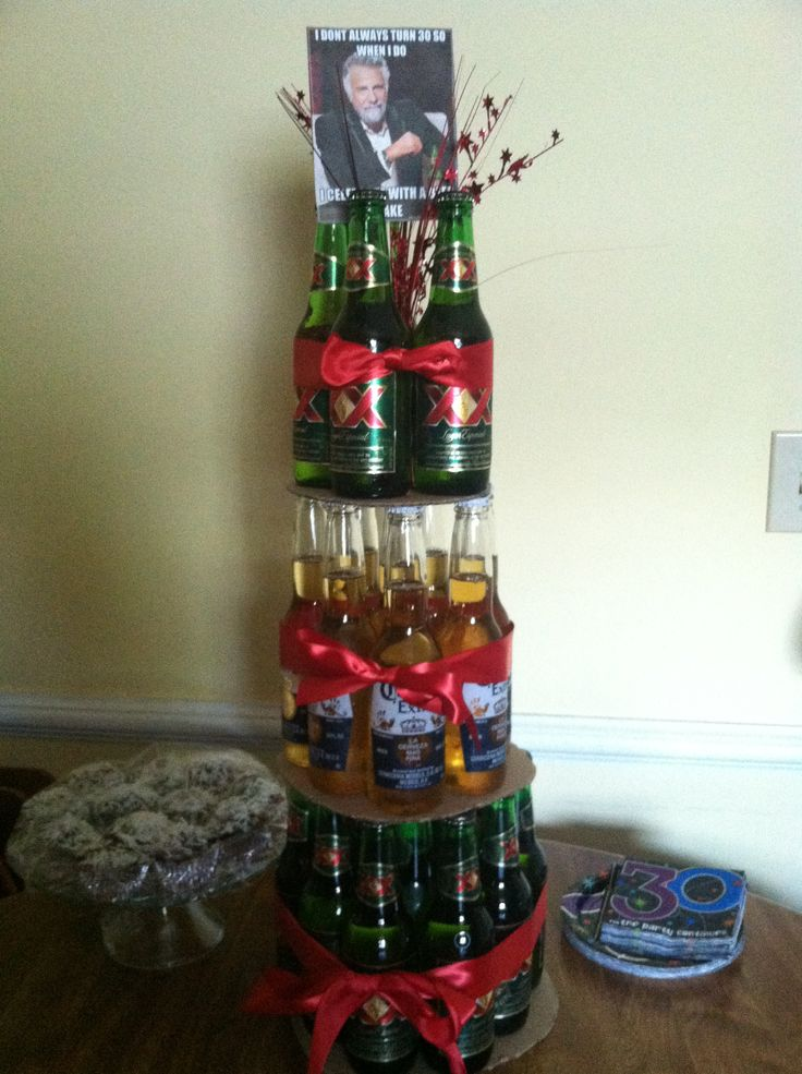 Beer bottle cake tower! Dos Equis and Corona bottles, red ...
