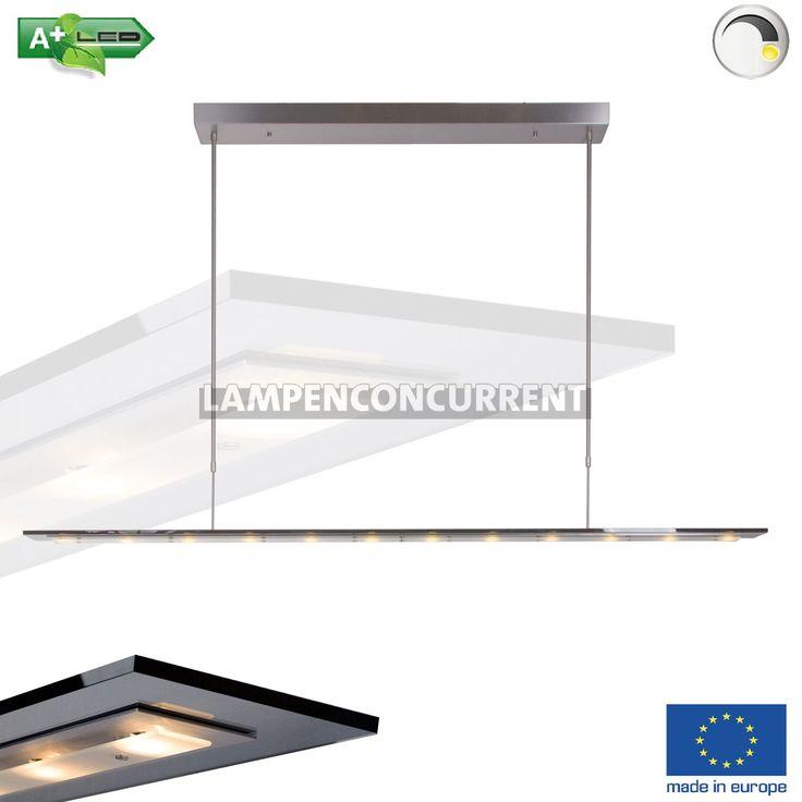 Moderne+extra+lange+design+hanglamp,+behorend+tot+de+Serie+Favourite+led.+Deze+lamp+is+uitgevoerd+met+een+geborstelde+stalen+plafondbevestiging+(l+x+b+x+h+)+98+x+8,5+x+4,5+cm)+en+een+donkere+rook+/+zwarte+rechthoekige+glasplaat+van+(176+x+9+cm).+De+3,3+watt+(warm+wit+2900Kelvin)+leds+zitten+achter+een+extra+glasplaat+(zie+detailfoto's).+Hierdoor+wordt+het+licht+op+een+aangename+manier+verspreidt.De+lamp+is+in+hoogte+verstelbaar+(80-135CM).+Op+deze+eetkamer+hanglam...