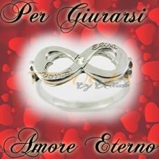 Anello infinito con inciso i vostri nomi con zircone in argento 925% doppio bordo (Infinity Ring)
