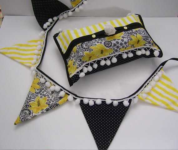 FLORAL BUNTING BANNERS   pompom bunting sets  black yellow