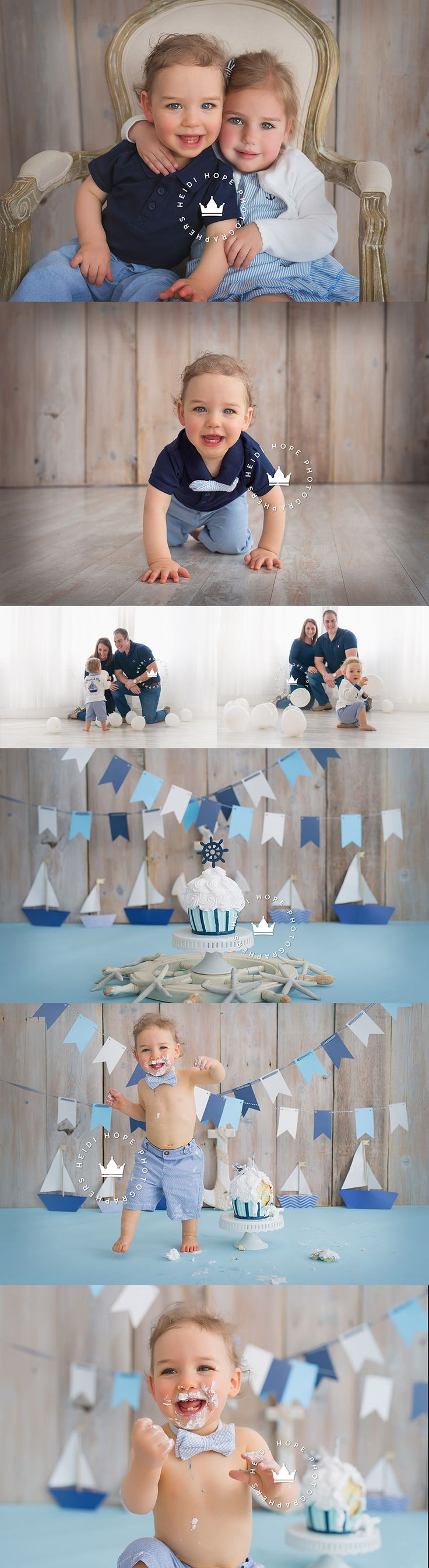 A classic nautical first birthday cakesmash sneak peek for L! | Heidi Hope Photography