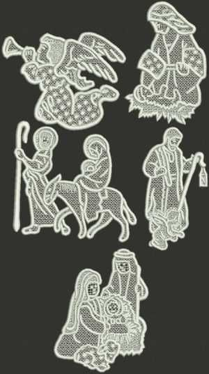 Advanced Embroidery Designs - Nativity Ornament Set II