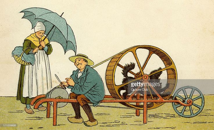 Knife-grinder of Caen using a dog to power his machine. Dog walks round and round the wheel. 1882. Drawn by Thomas Crane.