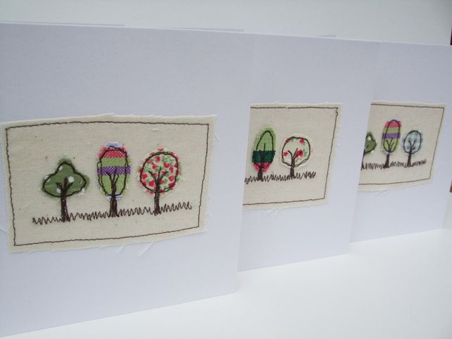 Three little trees card - Machine Embroidered £3.50