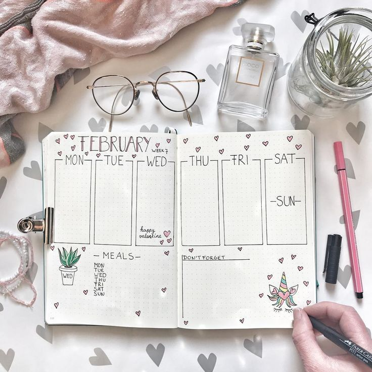 Bullet journal weekly layout, vertical dailies, Valentine's Day bullet journal theme, heart drawing, plant drawing, meal tracker. | @bulletjournal.lady