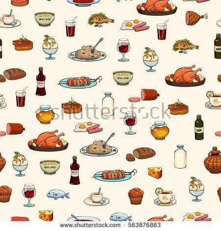 food Icons set. Pattern.