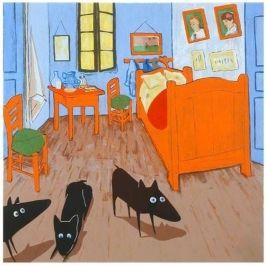 Peter Bastiaanssen, Yapping Van Gogh 'Yapping Modernism' is een project van kunstenaar Peter Bastiaanssen, waarin hij bekende werken van Moderne Meesters na schildert en hier zijn bekende zwarte hond aan toevoegt. Het project is een onderzoek van de kunstenaar naar vernieuwing in de hedendaagse kunst. Voor deze zeefdruk heeft Bastiaanssen het beroemde schilderij 'De slaapkamer' van Vincent van Gogh – uit de collectie van het Van Gogh Museum- als basis gebruikt.