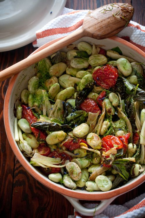 Fava Beans with Roasted Tomatoes and Fennel