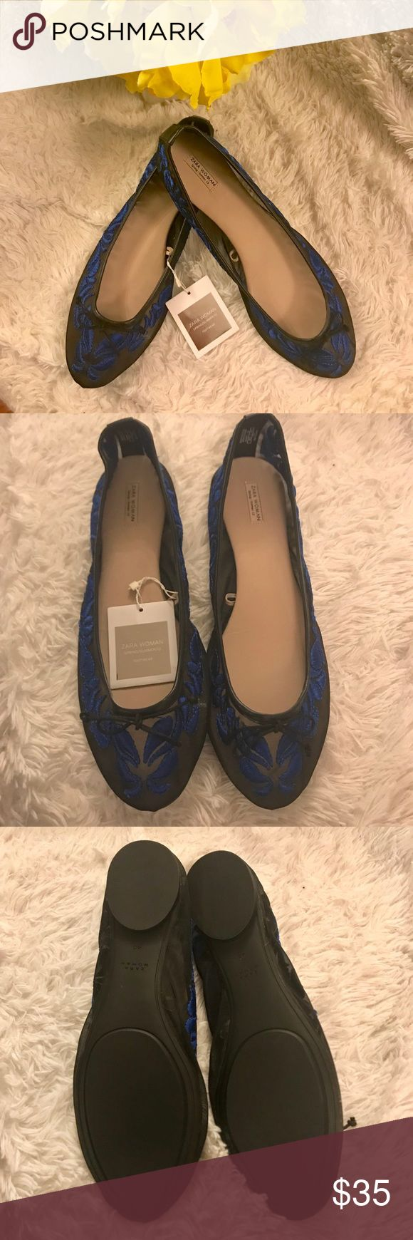 """NWT Zara Woman Ballet Flats 40/9 Welcome to our closet sales! Find us on IG! - CaitieKatandCo PLEASE READ ITEM DESCRIPTION AND ASK QUESTIONS BEFORE BUYING!  NWT Zara Woman Ballet Flats sz 40 (US 9). Beautiful clear mesh-like material with blue embroidery detail and black trim & ribbon. Bottom sole measures 10"""". So pretty in person. Shows a little of skin without having to wear sandals! Perfect way to work the navy and black combo that is so in fashion right now!  REASONABLE OFFERS ONLY PLS…"""