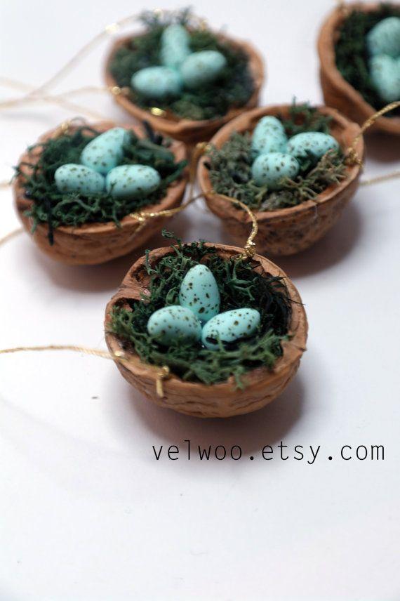 Set of Bird Nest Ornaments Christmas Tree, bird eggs, Woodland Holiday Decor…