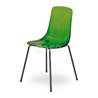 Pauline-G Стул акриловый на металлокаркасе (пластик-акрил/для кухни, обеденный, для гостиной, для кафе/зеленый)