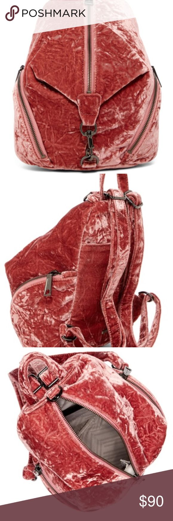 "Rebecca Minkoff medium velvet Julian backpack Single top handle - Adjustable shoulder straps - Zip front closure - Exterior features 2 side zip pockets - Interior features 1 slip pocket - Dust bag included - Approx. 10"" H x 8"" W x 5"" D - Approx. 2.5"" handle drop, 7-14"" strap drop Velvet exterior, textile lining Rebecca Minkoff Bags Backpacks"