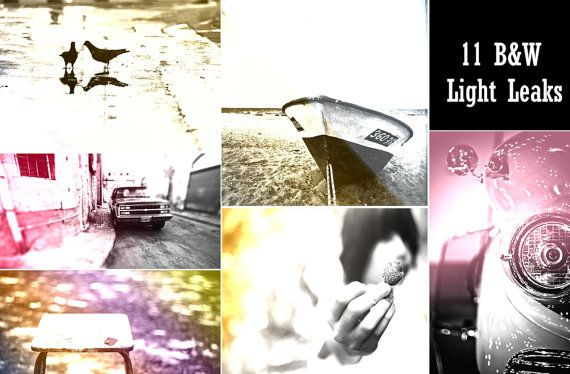 11 Premium B&W Light Leaks Photoshop Actions by ONESMFA on Etsy, $3.00