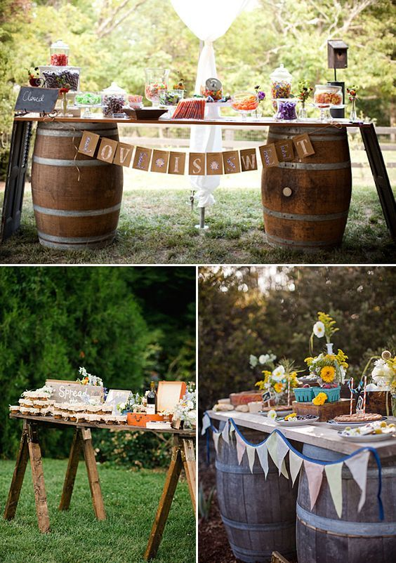 17 mejores ideas sobre mesas de postres para boda en for Mesa de picnic madera