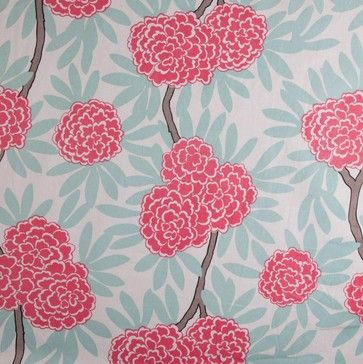 Mint Fleur Chinoise Fabric - traditional - upholstery fabric - Caitlin Wilson Textiles
