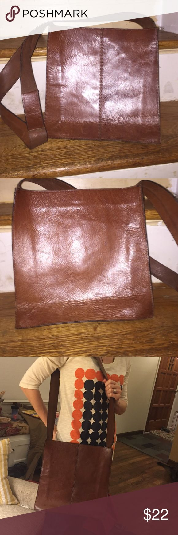 Real Leather Gap purse shoulder bag -- brown Well-loved leather Gap purse that still has a lot of life in it! Beautiful brown leather, compact design, never goes out of style! GAP Bags Shoulder Bags
