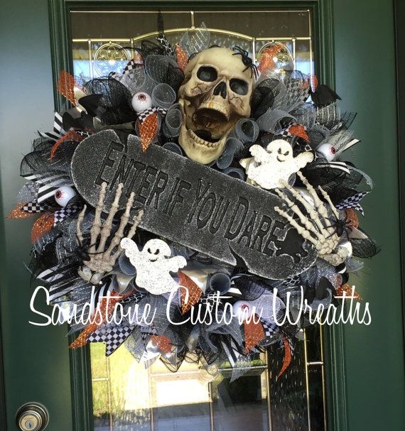 Skeleton Enter if you Dare, Halloween Deco Mesh Wreath   Wreath is constructed…