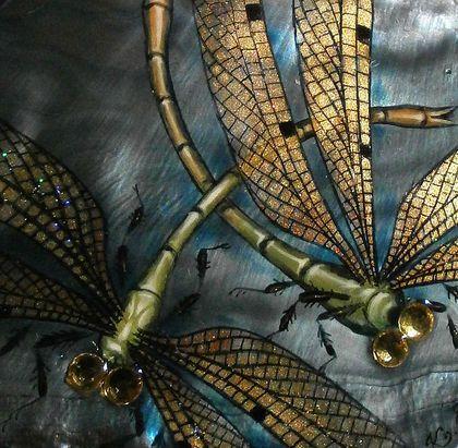 """""""Златокрылый танец"""" кулон - стрекозы,крылья,полет,ручная роспись,серый"""