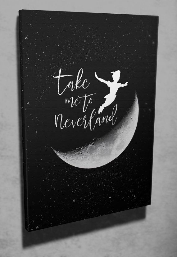 Wall art Take me to Neverland Peter Pan quote by ArtandSoulPrint