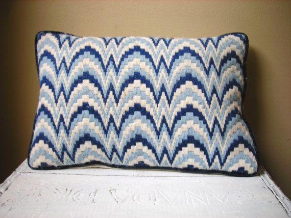 Vintage Blue and White Bargello Pillow