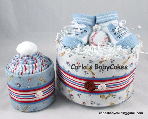 Baseball theme baby diaper cake gift set designed especially for a preemie. Mini diaper cake with a receiving blanket cupcake - Interested ??? Request yours today!