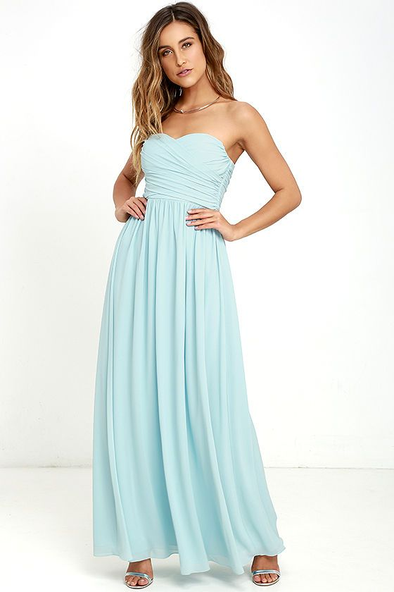 You'll be the belle of the ball in the All Afloat Mint Blue Strapless Maxi Dress! Stunning mint blue chiffon covers a strapless…