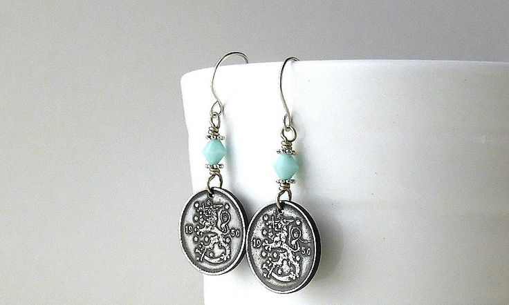 Finland, Coin earrings, Coin jewelry, Coins, Mint alabaster, Swarovski earrings, Scandinavian, Jewelry, Earrings, Lions, Gifts for her, 1950 by CoinStories on Etsy