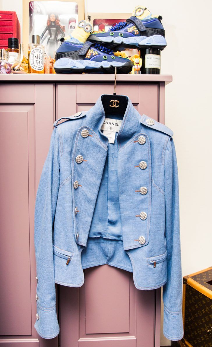 The Best Designer Sneakers Featured By Coveteur: Meg Baby's Baby Blue Chanel Blazer with Gold Buttons and Blue Sneakers | coveteur.com