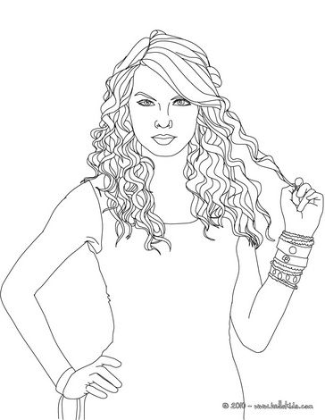 Taylor Swift curly hair coloring page Coloring book art