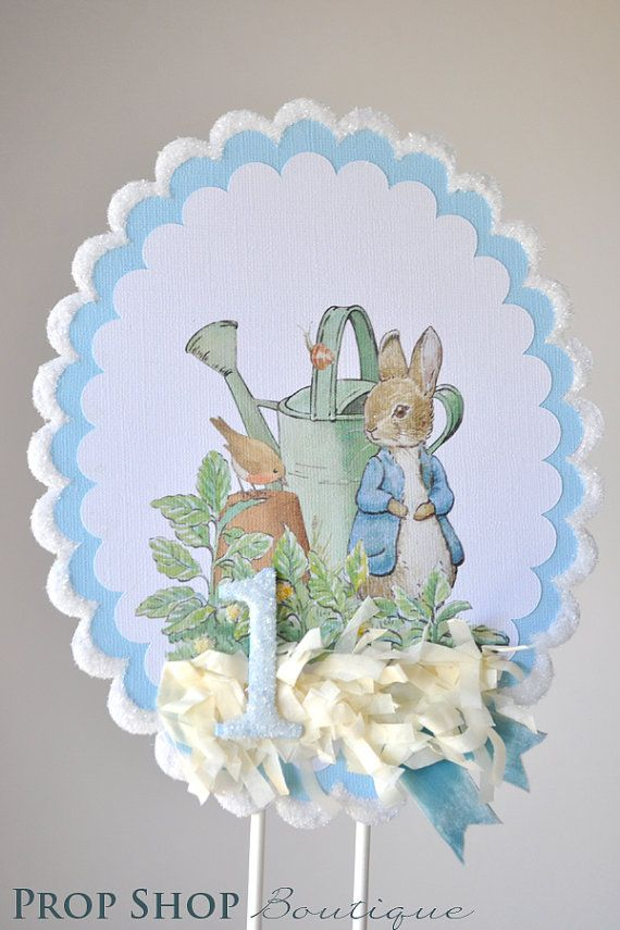 Peter Rabbit Birthday Cake Topper Centerpiece by propshopboutique, $16.00