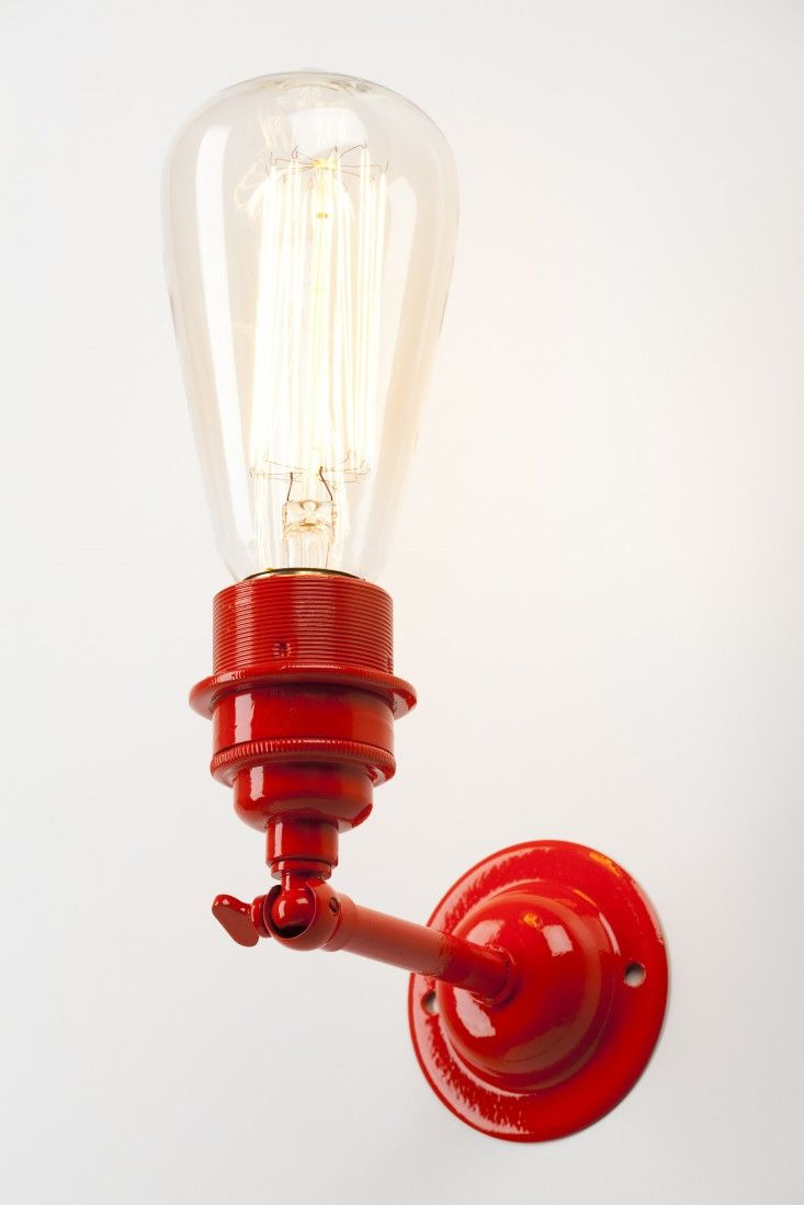 Holloways of Ludlows, Old School Electric, Red Industrial Wall Light | Remodelista