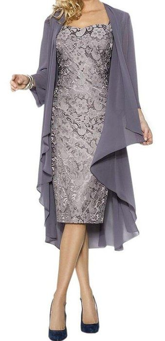 Fanmu Women's Mother of the Bride Dress With Jacket Mother Party Dress Grey US 2