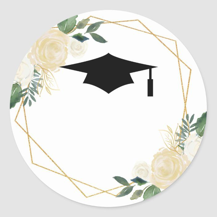 Ivory Golden Floral Modern Graduation Graduate Classic Round Sticker Zazzle Com Graduation Crafts Floral Border Design College Graduation Cap Decoration