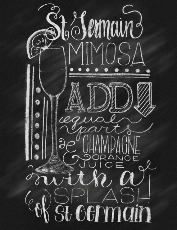 Chalkboard Hand Lettering St. Germain Mimosa Decorated Cocktail Recipe Illustration Print